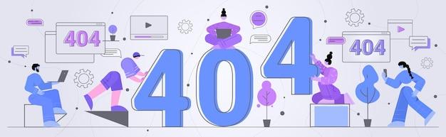 Zakenmensen reparatie site met probleem werkt niet fout verloren niet gevonden 404 teken concept