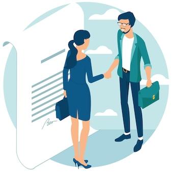 Zakenmensen schudden elkaar de hand na onderhandeling, kwamen tot overeenstemming en rondden de deal af met een handdruk. plat ontwerp isometrisch concept voor website en applicatieontwerp en presentatie.