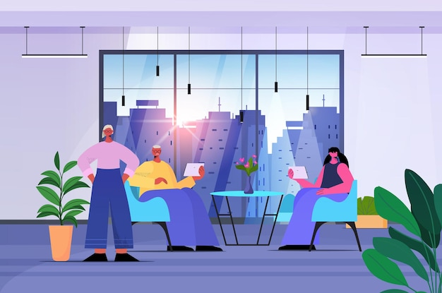 Zakenmensen team met behulp van digitale gadgets zakenmensen werken in moderne kantoor horizontale volledige lengte vectorillustratie