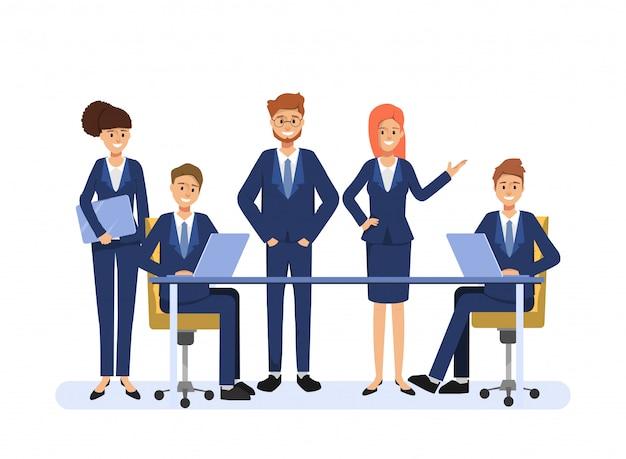 Zakenmensen teamwerk collega karakter. animatiescène mensen seminar gemeenschap.