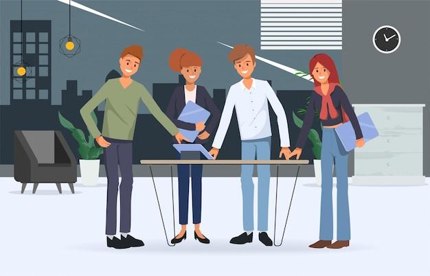 Zakenmensen teamwerk kantoor karakter