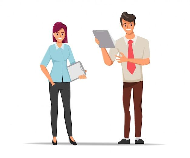 Zakenmensen teamwerk office karakter bespreken met collega