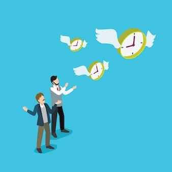 Zakenmensen verliezen tijdmanagement