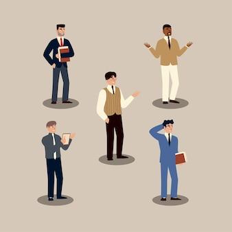Zakenmensen zakenlieden professionele karakters instellen afbeelding