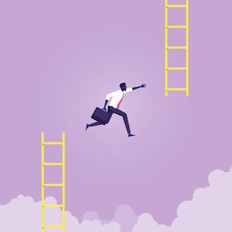 Zakenmensprong van lage trap naar hoge trap verandert de weg naar succes