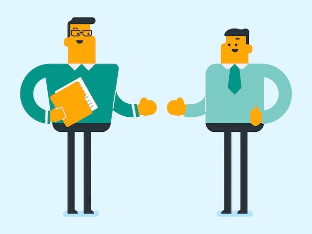 Zakenpartners gaan handen schudden.