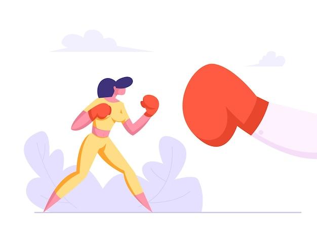 Zakenvrouw boksen met grote handschoen illustratie