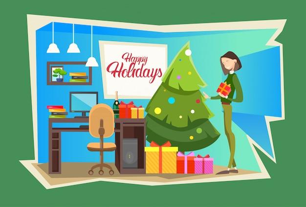 Zakenvrouw cadeau huidige vak gift merry christmas