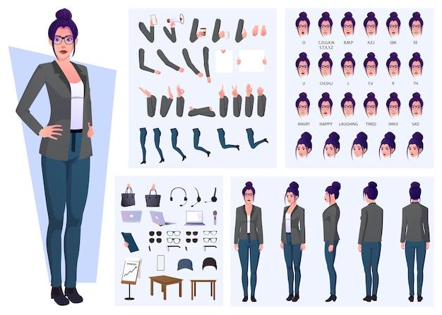 Zakenvrouw cartoon karakterset met gebaren, uitdrukkingen en handgebaren premium vestor