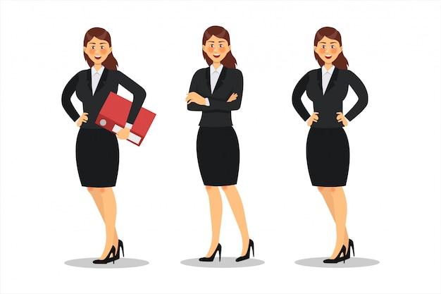 Zakenvrouw characterdesign. werken op kantoor, poseren, plat