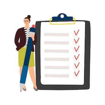 Zakenvrouw checklist beheer