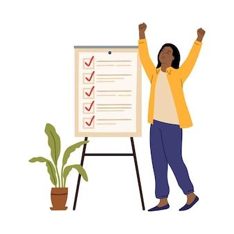 Zakenvrouw checklist. succes meisje, kantoor werkbord met taken. jong ondernemersdoel of plan klaar, vectorconcept van de onderzoekslijst zakelijke checklist, vrouwen checklist gedaan illustratie