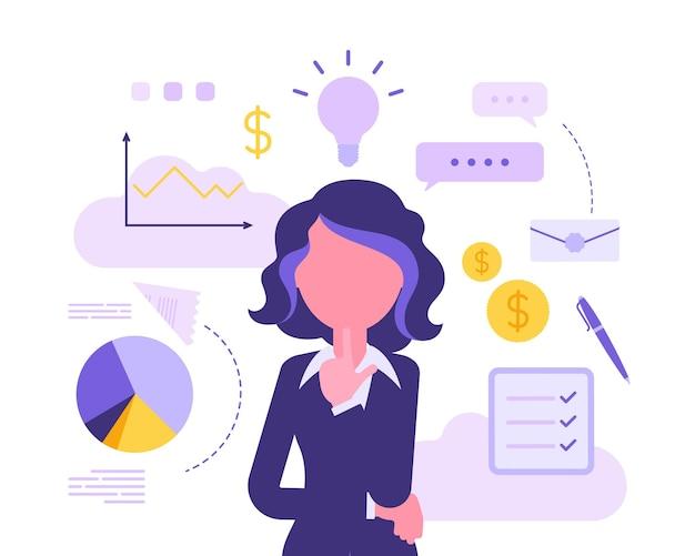 Zakenvrouw denken over nieuw project. zakelijke inspiratie voor creatieve vrouwelijke manager, ondernemer met een geweldig idee voor financieel gewin in gedachten. vector abstracte illustratie, gezichtsloos karakter