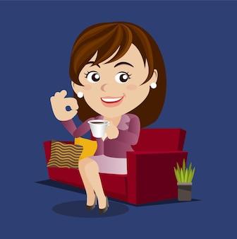 Zakenvrouw die een pauze maakt, ontspannend en een kopje koffie drinkt.