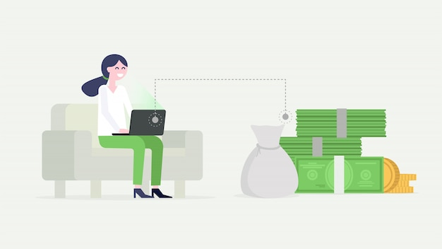 Zakenvrouw die op laptop werkt, zittend op de bank, geld verdienen.
