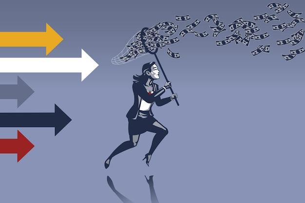 Zakenvrouw die probeert om geld te vangen vliegen in de lucht met vlindernet blauwe kraag illustratie concept