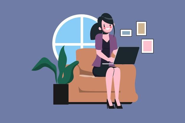 Zakenvrouw die vanuit huis werkt, blijf thuis, blijf veilig