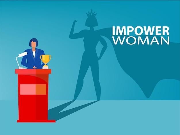Zakenvrouw droomt zijn schaduw met empowerment van vrouwen over overwinning, succes, leiderschap