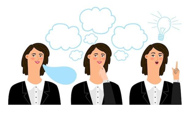 Zakenvrouw emoties illustratie, cartoon professionele zakelijke zakenvrouw gezicht met uitdrukkingen