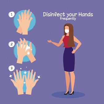 Zakenvrouw en handen wassen stappen