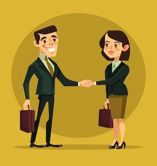 Zakenvrouw en zakenman tekens handen schudden. platte cartoon afbeelding