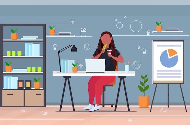 Zakenvrouw eten sandwich drinken cola overgewicht meisje met laptop op de werkplek ongezonde voeding zwaarlijvigheid concept modern kantoor interieur volledige lengte horizontaal