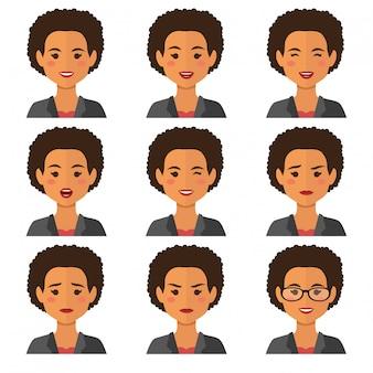 Zakenvrouw expressies avatars