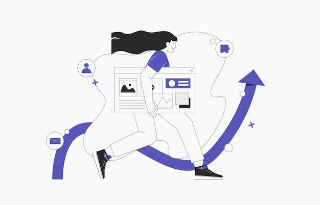 Zakenvrouw gaat met ontwerp- en programmeerbanner, website of sociale media-promotie, seo-specialist werkt aan project. vlakke stijl vctor illustratie.