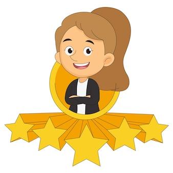 Zakenvrouw geeft vijf sterren aan beoordeling