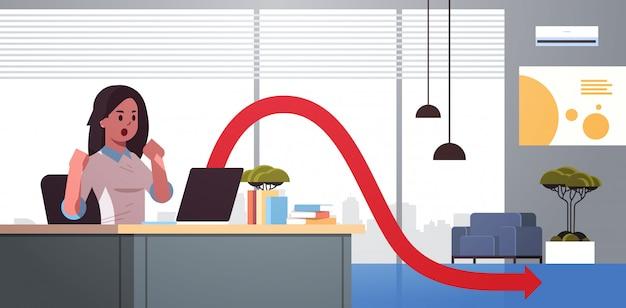 Zakenvrouw gefrustreerd over dalende economische grafiek pijl vallen financiële crisis failliet investeringsrisico concept zakelijke vrouw zitten op werkplek modern kantoor interieur horizontaal portret
