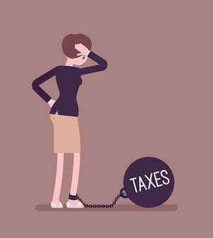 Zakenvrouw geketend met een gewicht belastingen