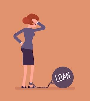 Zakenvrouw geketend met een gewicht lening