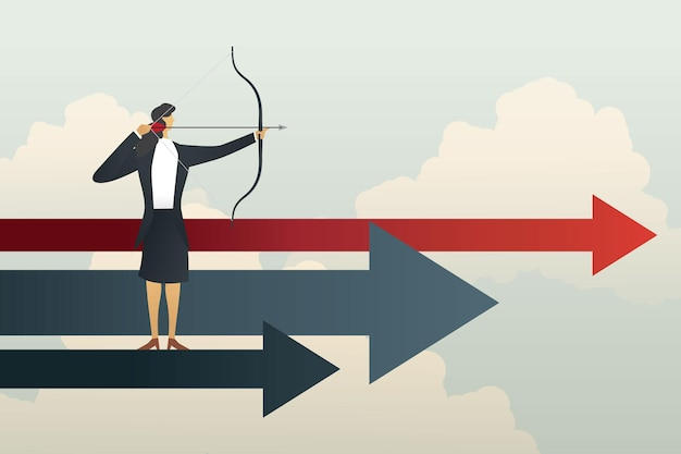 Zakenvrouw gericht op doelen succesvolle doelstelling en strategie