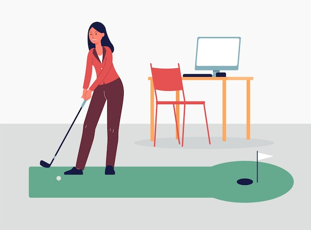 Zakenvrouw golfspel tijdens recreatie pauze op het werk, illustratie op kantoor interieur achtergrond. sportgames en vrijetijdsconcept.