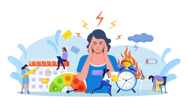 Zakenvrouw greep in paniek haar hoofd. mensen die stress voelen op het werk. uitgeput, gefrustreerd, stressvolle werknemer, burn-out. werknemer werkt overuren op deadline. alarm in brand, brandende klok