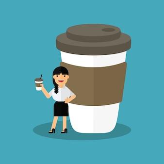 Zakenvrouw heeft koffiepauze