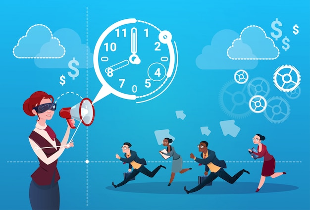 Zakenvrouw hold megaphone business people group run clock ondernemers time deadline concept