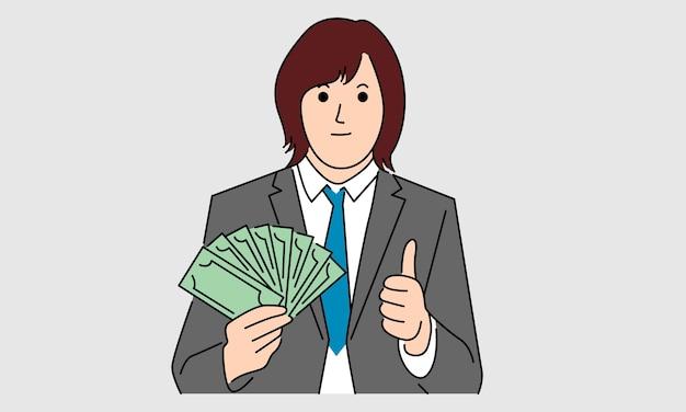 Zakenvrouw houdt geld. grafiek naar succes, bedrijfsconcept