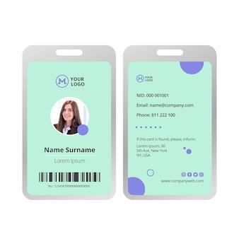 Zakenvrouw identiteitskaart sjabloon