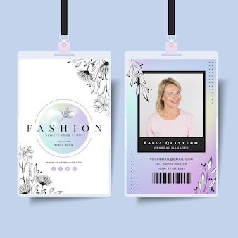 Zakenvrouw identiteitskaartsjabloon met elegante elementen