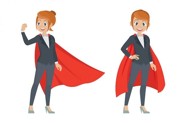 Zakenvrouw in actie vormt. vrouwelijke superheld.