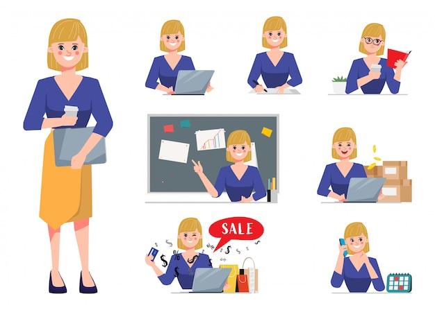 Zakenvrouw in baan en levensstijl dagelijkse routine tekenset.