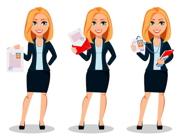 Zakenvrouw in de kleren van de bureaustijl