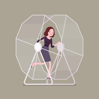 Zakenvrouw in een wiel
