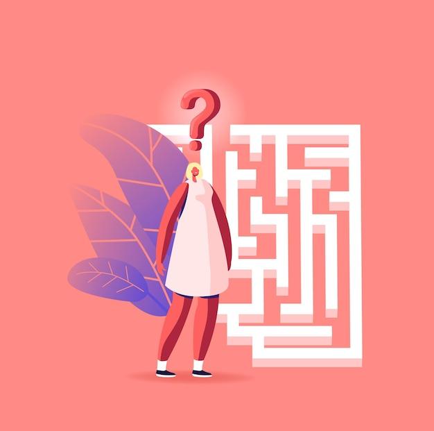 Zakenvrouw in labyrint op zoek naar idee