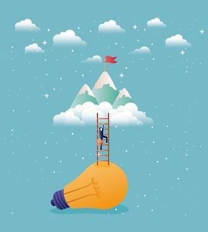 Zakenvrouw in lamp licht met trap omhoog en bergen