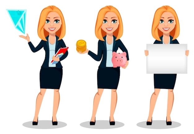 Zakenvrouw in office-stijl kleding, set van drie poses
