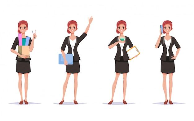 Zakenvrouw in pak klusroutine doen. karakter van vrouw kantoormedewerker.
