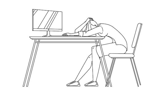 Zakenvrouw in slaap aan balie in office zwarte lijn potlood tekening vector. overwerkte jonge zakenvrouw werknemer in slaap aan bureau. karakter meisje werknemer rust slapen op de werkplek tabel afbeelding