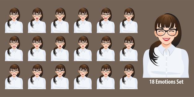 Zakenvrouw in wit overhemd met verschillende gezichtsuitdrukkingen geplaatst geïsoleerd